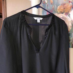 Black semi-sheer blouse